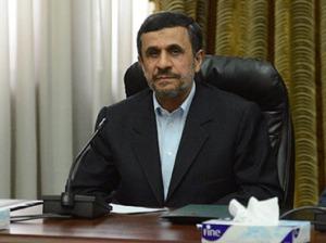 Iranian President Mahmoud Ahmadinejad at Al-Azhar headquarters in Cairo on February 5, 2013. (AFP Photo / Khaled Desouki)