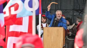 A trade union representative gives a speech in Brussels, Belgium, against austerity policies on March 14, 2013. (File photo)